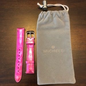 New Michele leather 16mm hot pink watch strap